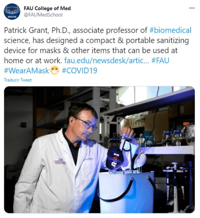 Crean dispositivo desinfectante de cubrebocas