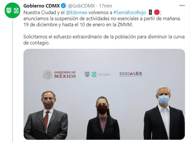 CDMX y Edomex regresan a semáforo rojo