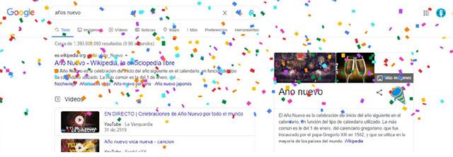Confeti año nuevo Google