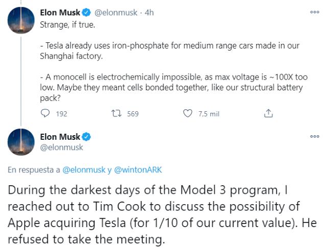 Elon Musk fue rechazado por Apple cuando quería vender Tesla