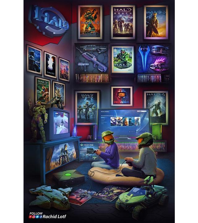 Fan Art_ Un artista crea una ilustración con toda la nostalgia de Xbox y el primer Halo