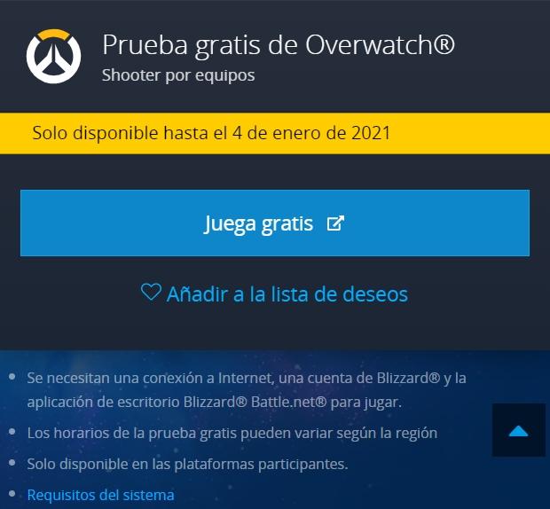 Overwatch disponible gratis en PC por tiempo limitado