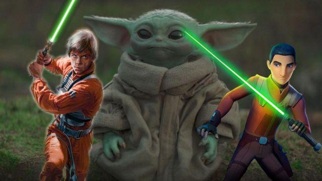 Luke Skywalker, Ezra Bridger y Baby Yoda