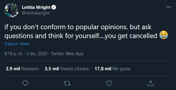 Usuarios de redes sociales quieren cancelar a Letitia Wright por discurso anti vacunas y transfóbico