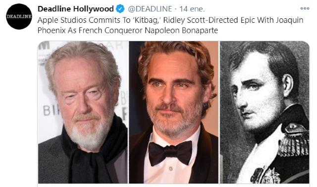 Apple Studios producirá película de Napoleón con Joaquin Phoenix