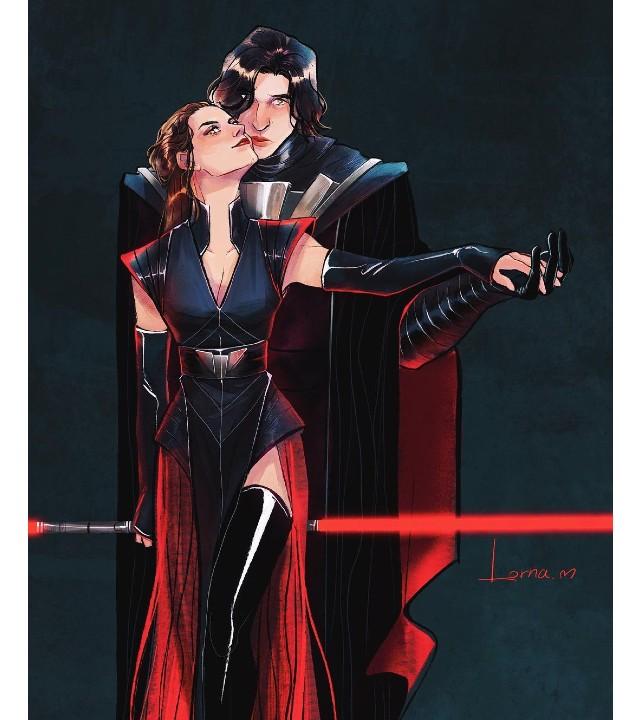 Este increíble fan art imagina a Kylo Ren y a Rey siendo pareja en el lado oscuro