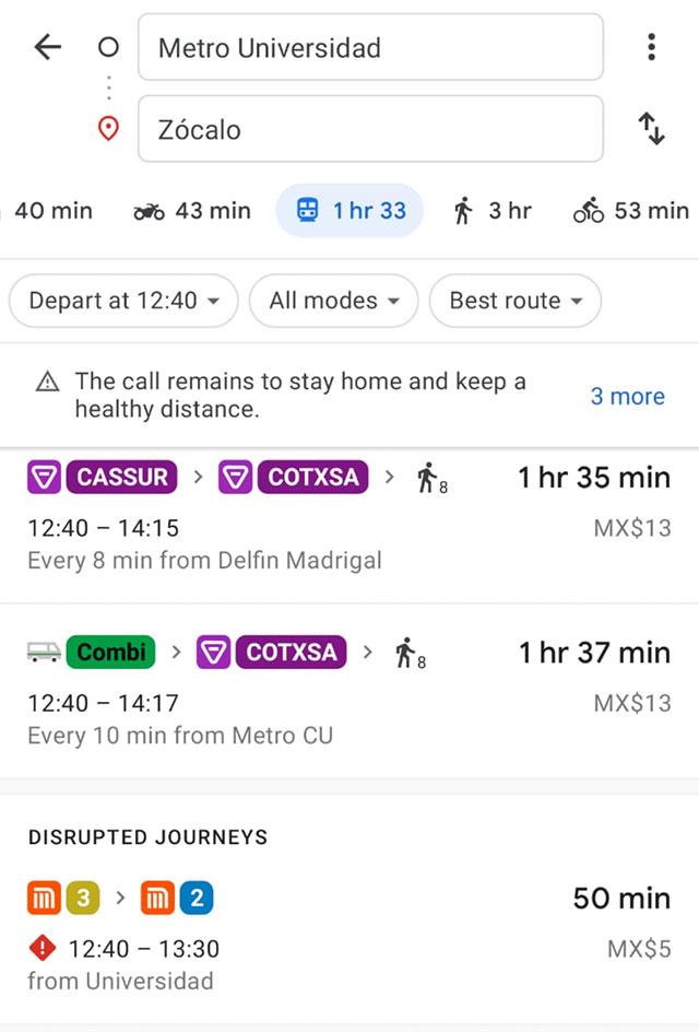 Google Maps te muestra rutas de transporte público concesionado