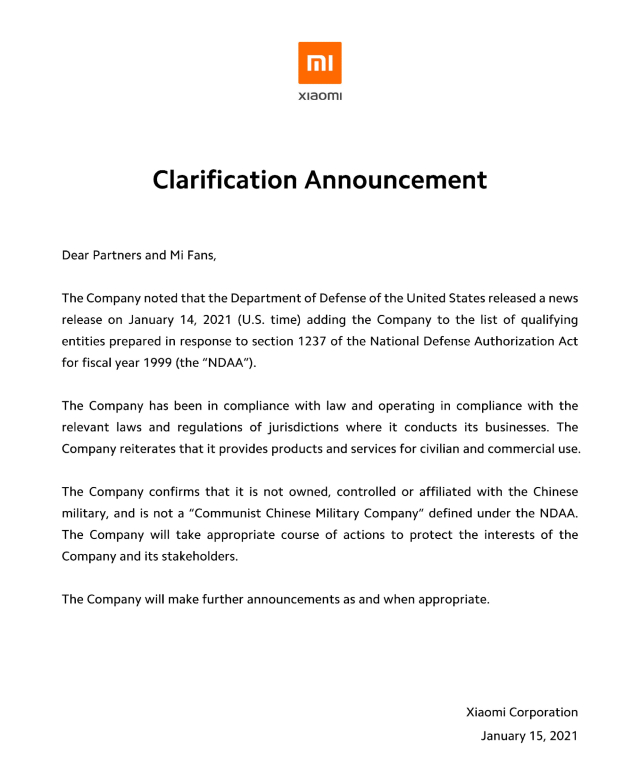 Xiaomi responde al bloqueo en Estados Unidos