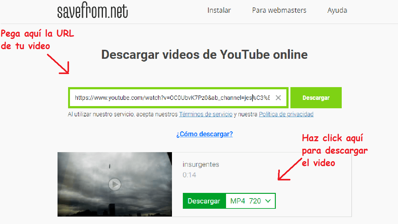 savefrom descargar videos hd instructivo