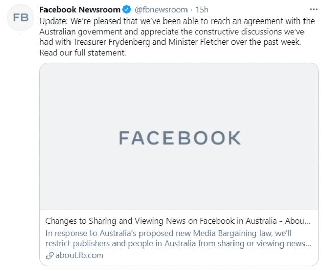 Facebook llegó a un acuerdo para publicar noticias en Australia