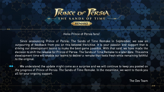 Ubisoft retrasa Prince of Persia: The Sands of Time indefinidamente