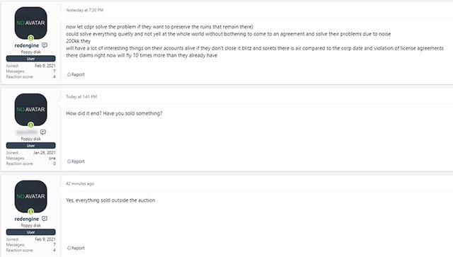 Imagen que muestra que la subasta por los archivos robados a CD Projekt ha finalizado