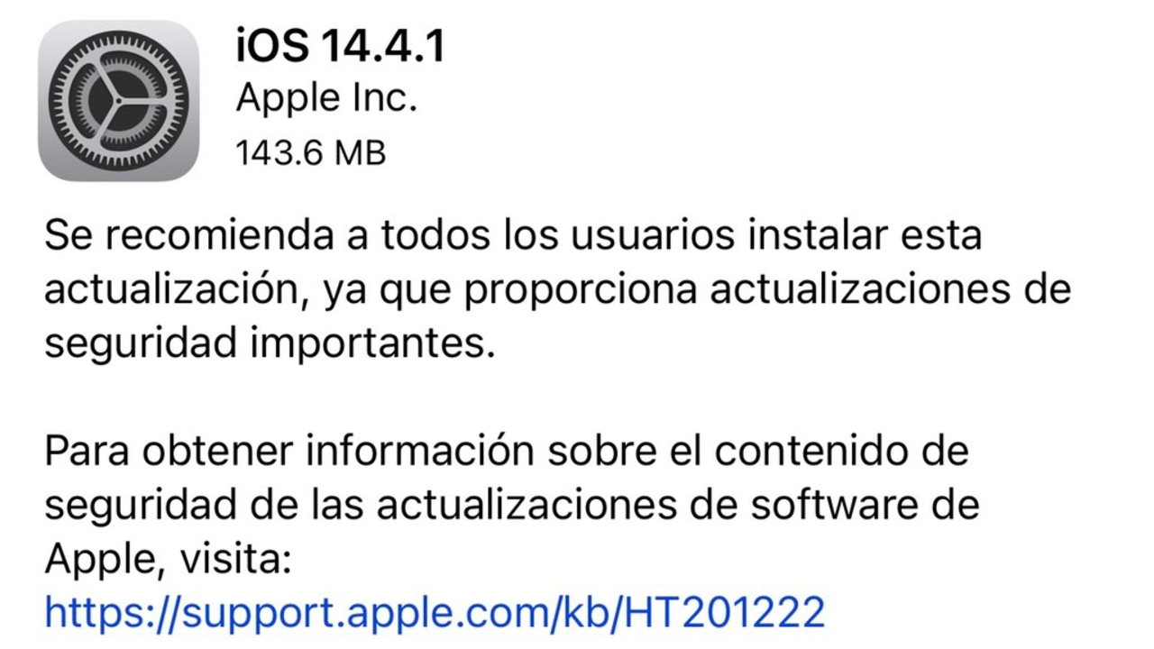 Apple actualización iOS iPhone
