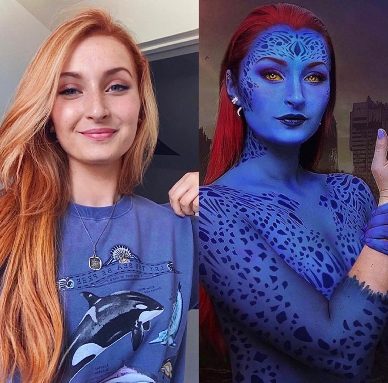 Mystique cosplay body art