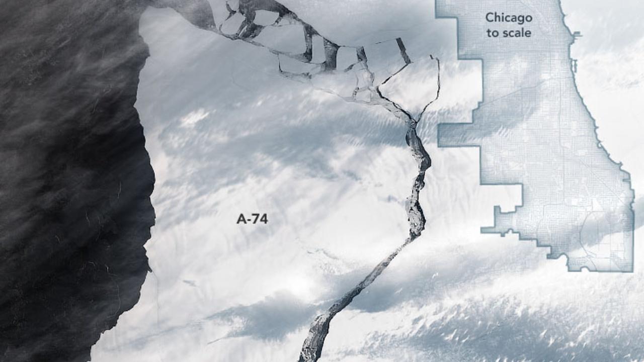 NASA comparte imágenes del desprendimiento de un iceberg