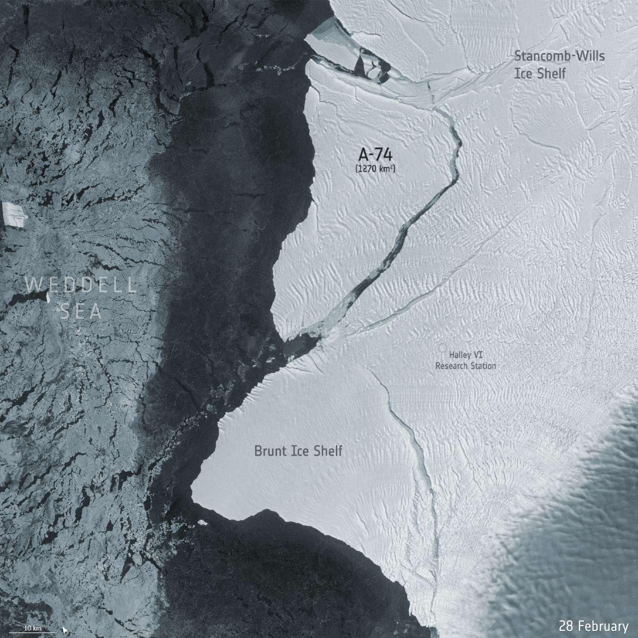 NASA comparte imágenes del desprendimiento de iceberg