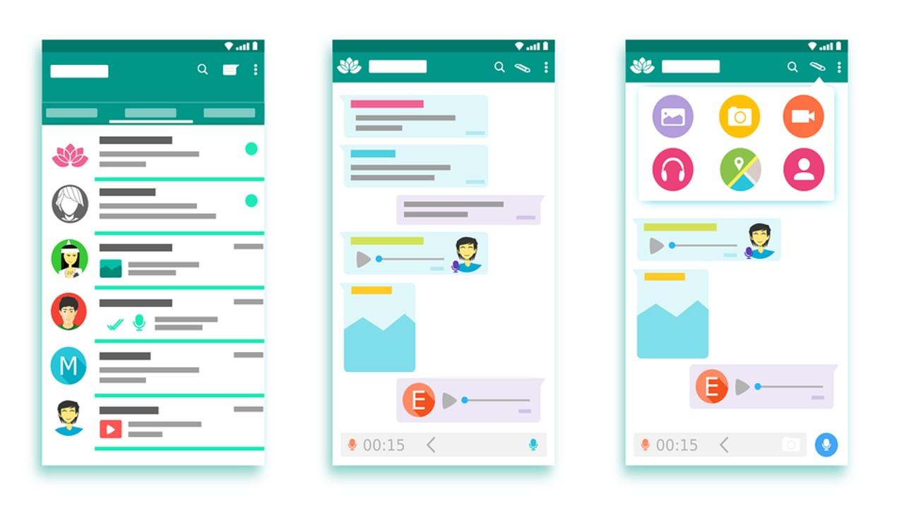 whatsapp interfaz mensajes de voz audio