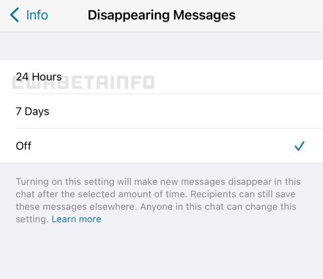 Caducidad en los mensajes de whatsapp