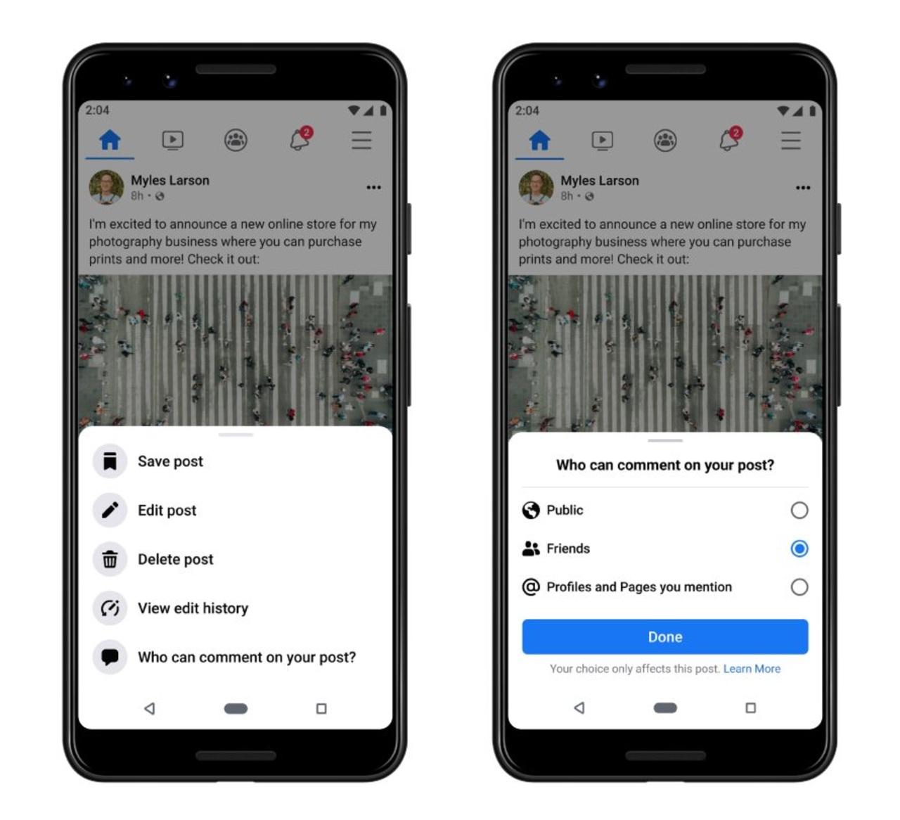 Facebook herramienta restringir comentarios publicaciones