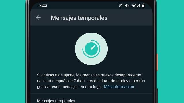 mensajes temporales grupos de whatsapp