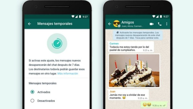 whatsapp como activar mensajes temporales
