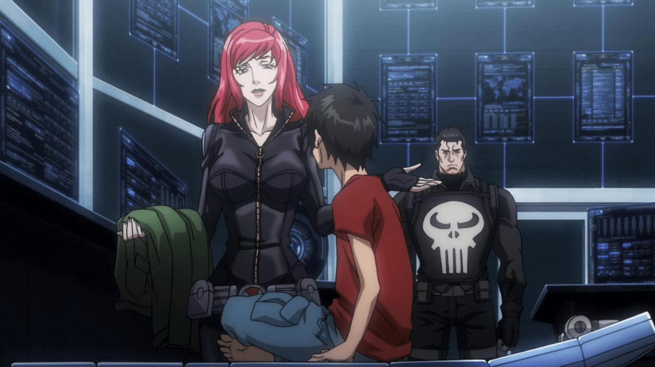 marvel anime back widow punisher