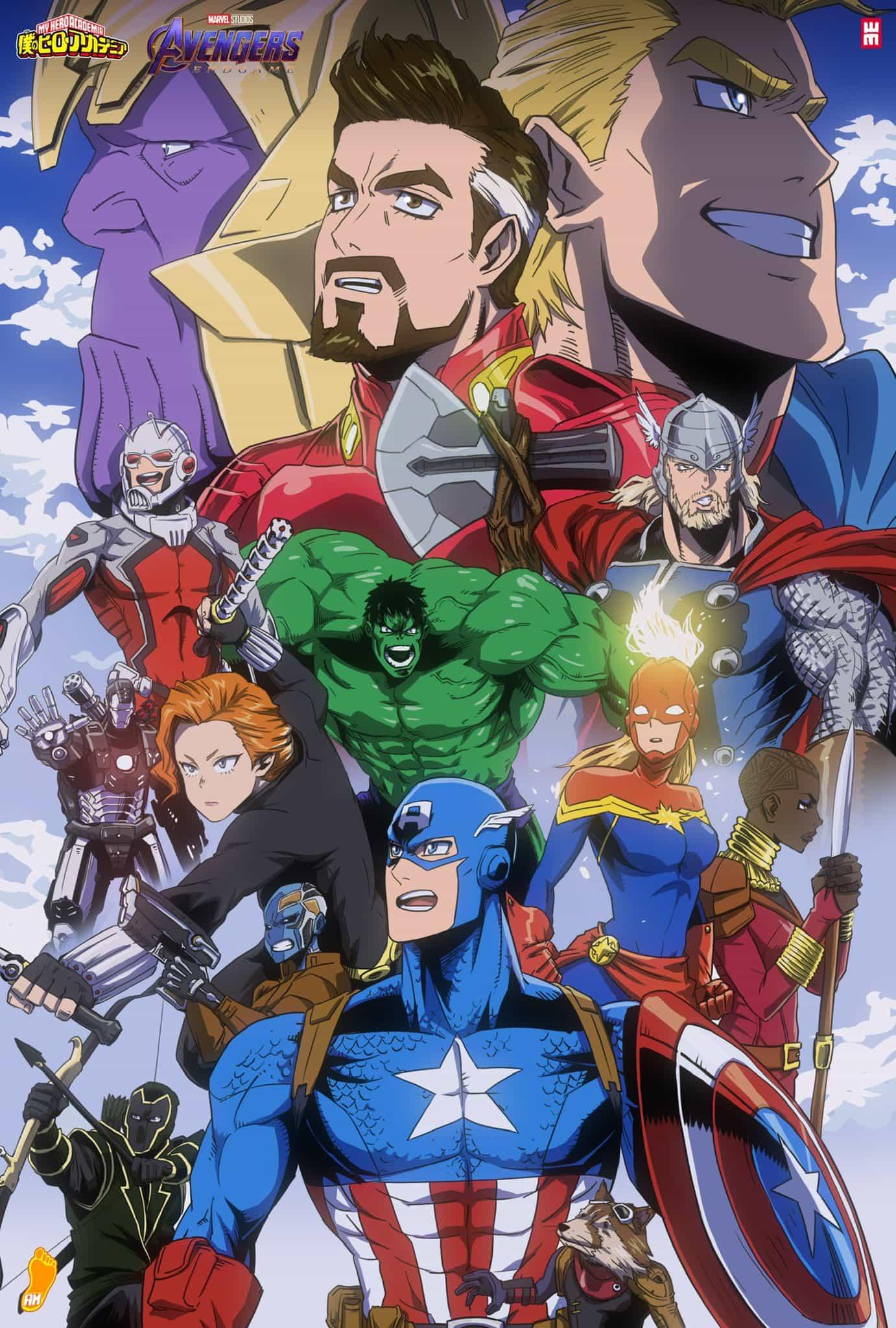 El epico fanart de Avengers en My Hero Academia