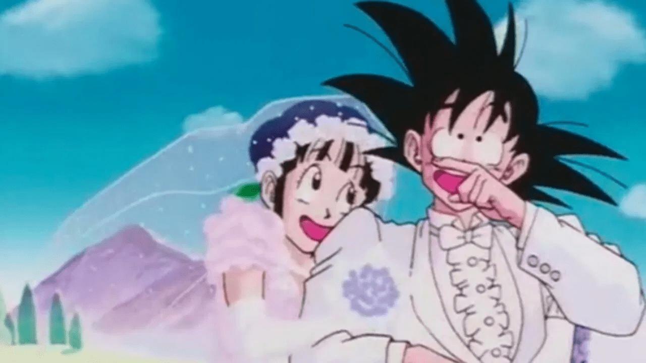goku y milk enamorados boda dragon ball