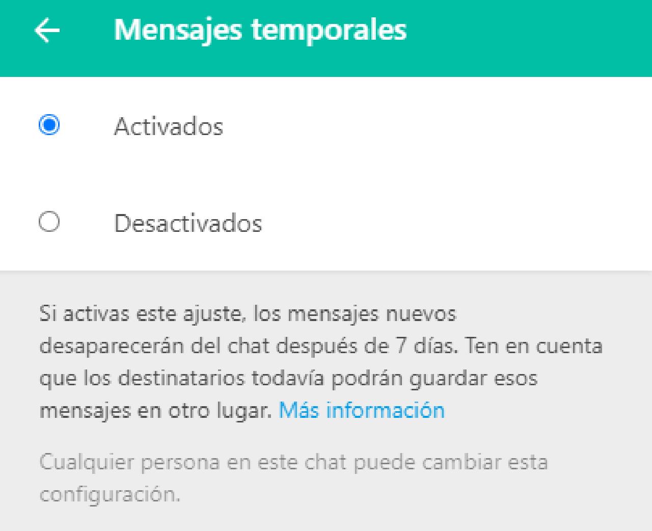 whatsapp web mensajes temporales configuración ordenador