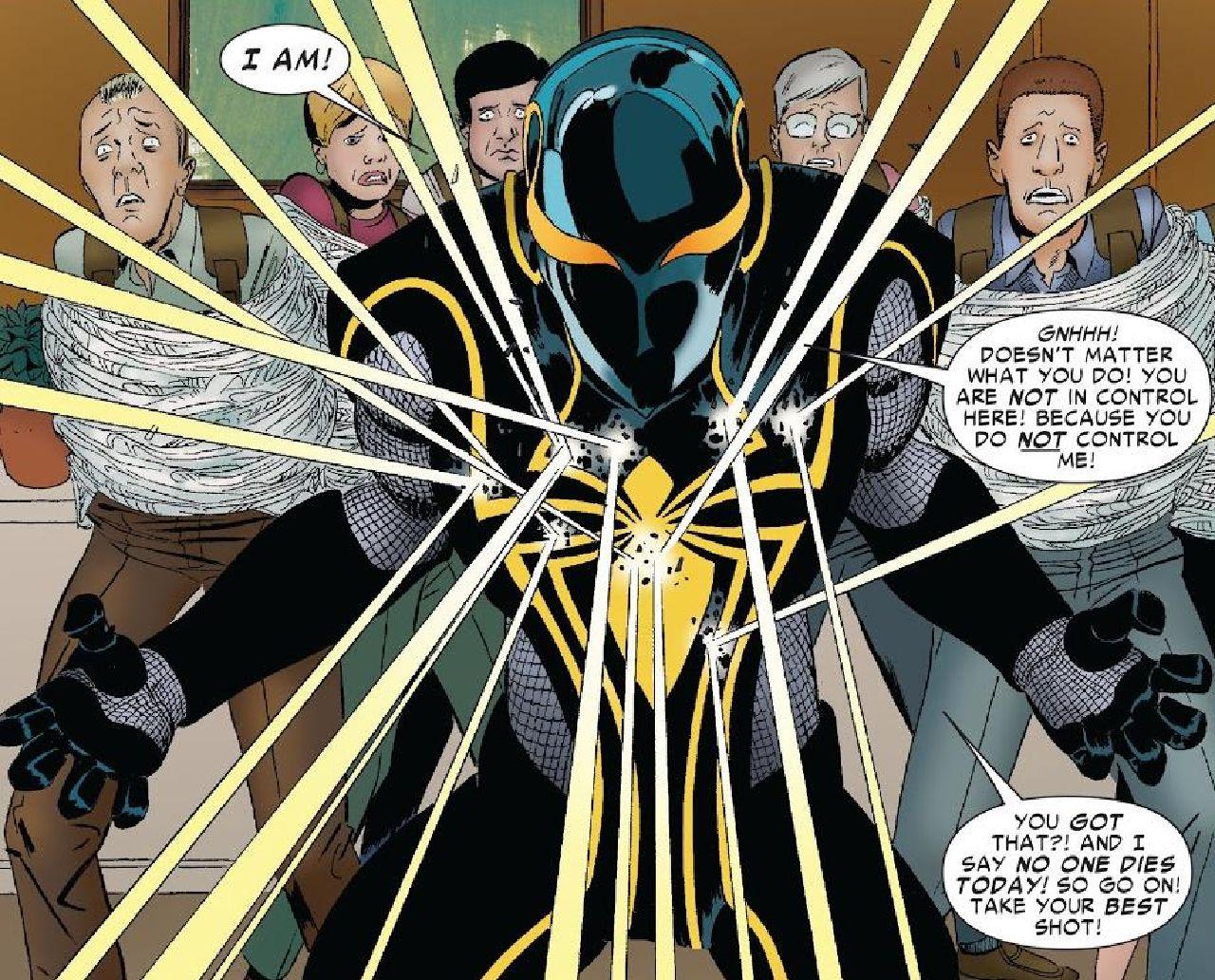traje de spiderman dan slott spider armor