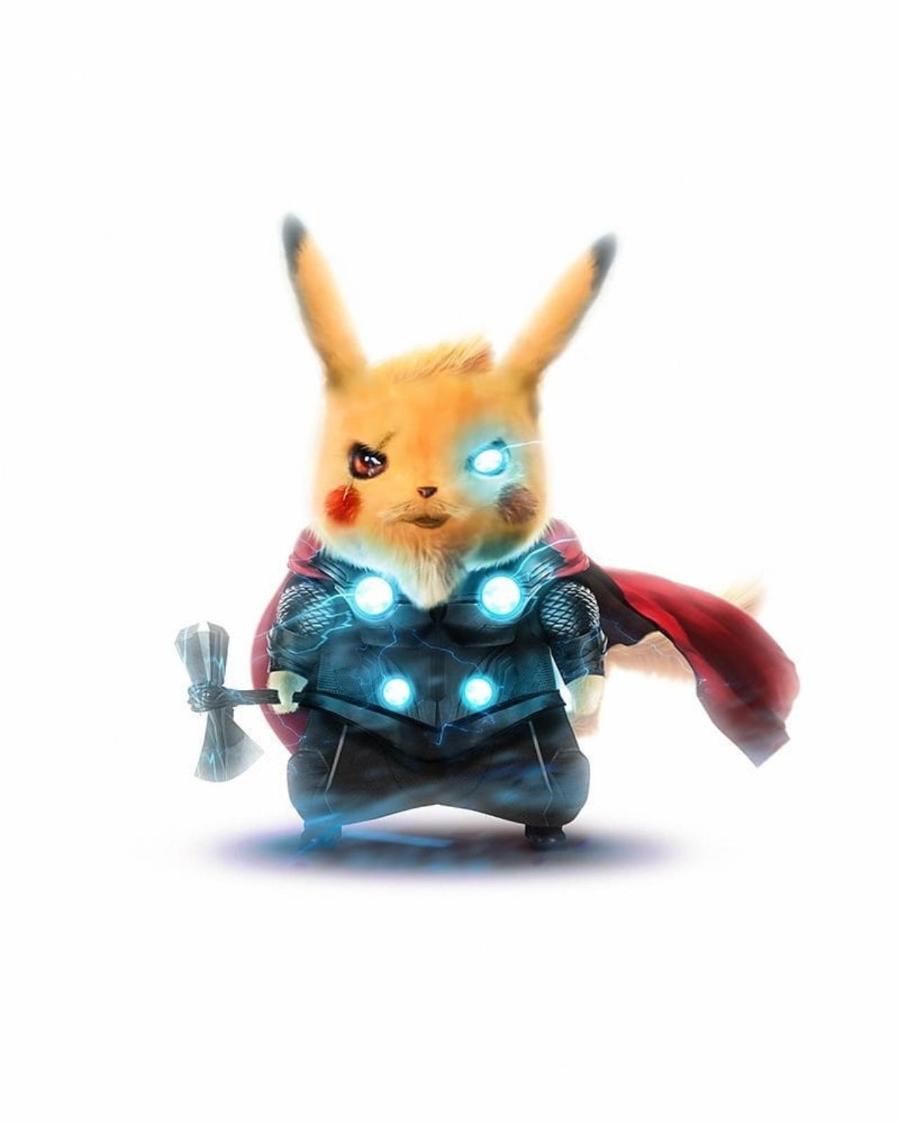 Pikachu version Thor Marvel pokémon