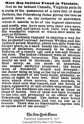 Publicación del New York Times del 8 de setiembre de 1871 informando de enorme restos encontrados. Crédito: New York Times.