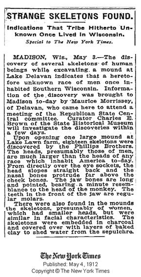 Publicación del New York Times del 4 de mayo de 1912 informando de extraños esqueletos encontrados. Crédito: New York Times.