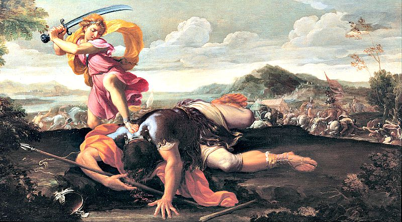 Goliat, el gigante filisteo vencido por David, era refaíta: uno de los pueblos de origen Nephilim. Óleo sobre lienzo de Guillaume Courtois (1650 - 1660).
