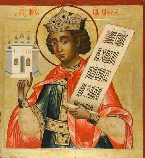 Icono ruso del rey Salomón. Se le representa con un pequeño Templo sobre su mano derecha (siglo XVIII, iconostasio del monasterio de Kizhi, Rusia).