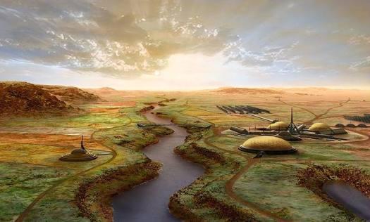 Representación artística de cómo luciría Marte luego de la segunda fas: la oxigenación de Marte.