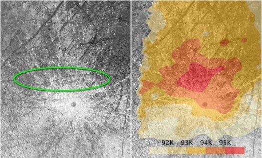 El óvalo verde destaca las plumas que Hubble observó en Europa. La zona también corresponde a una zona caliente en la superficie de Europa. El mapa se basa en las observaciones de la nave espacial Galileo.