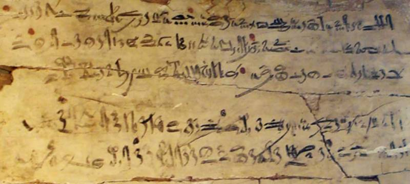 Example of hieratic writing.  Exercise table with hieratic extract from 'The instructions of Amenemhat'.  Dynasty XVIII, reign of Amenhotep I, c.  1514-1493 a.  C.Tulli Papyrus