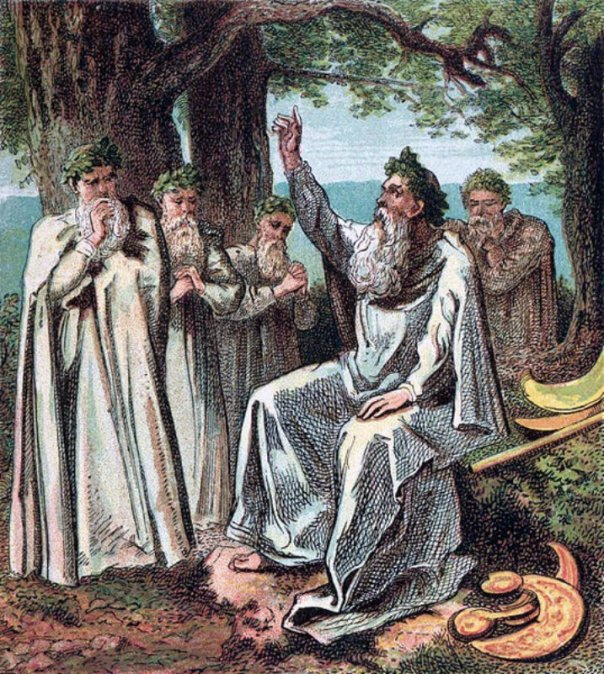 """En la noche de Samhain, los druidas encendían enormes fogatas y recitaban numerosos conjuros con la intención de ahuyentar a los malos espíritus. Dibujo perteneciente al libro """"Pictures of English History"""" (Grabados I-IV) (1868) de Joseph Martin Kronheim."""