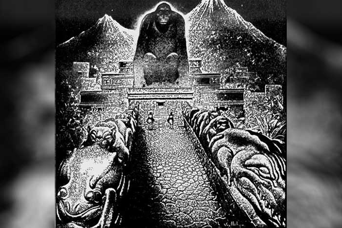 Illustration of Virgil Finlay about the lost city, 1940 City of Honduras