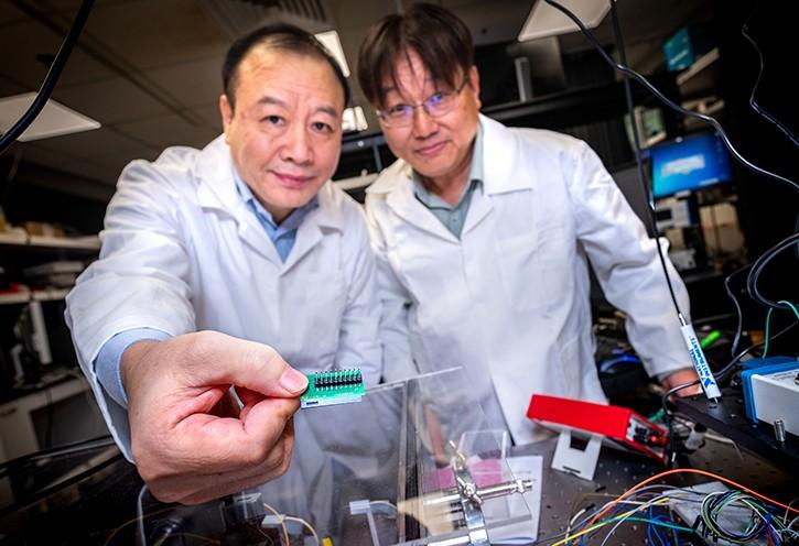 NTU's Kwek Leong Chuan and Liu Ai Qun and chip creators quantum chip