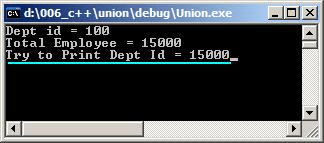 Output of the C++ union example.