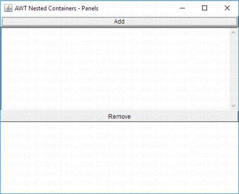 Adding Button Manager Panel to AWT Frame Window