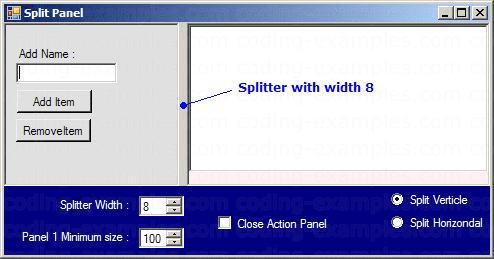 Splitter with 8 pixel width