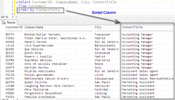 SQL 'Order By' Example