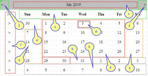 Parts of the ASP.Net Calendar Control