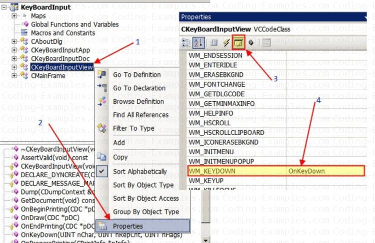 Handle WM_KEYDOWN Keyboard Message in MFC Application Through Visual Studio IDE
