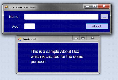 Main Form Displaying About Form as Modeless Dialog