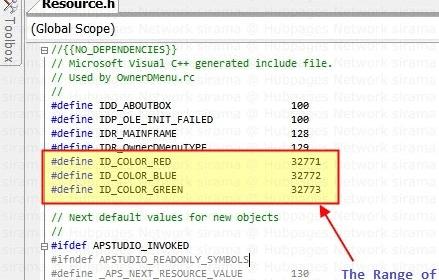 Menu Item Resource IDS in Sequential Order