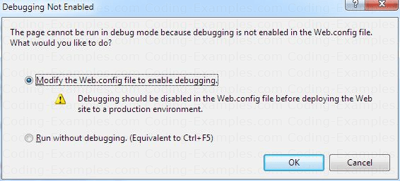 ASP.Net Debugging Not Enabled Window